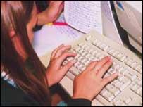 School children using computer, BBC