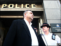 Miles Rodgers leaves Bishopsgate police station