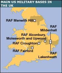 BBC NEWS UK Long History Of UKUS Defence Ties - Us air force bases in england map