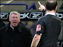 Sir Alex Ferguson was sent to the stands by referee Mark Clattenburg