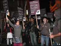 Protesting students at Oxford Union