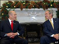 Olmert y Bush en la Casa Blanca
