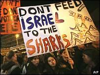 Israelis protest against the Annapolis talks in Jerusalem on Monday