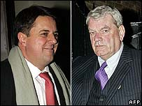 Nick Griffin (l) and David Irving following the debate