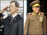 Composite image of South Korean Defence Minister Kim Jang-soo and North Korean Vice-Marshal Kim Il-chol