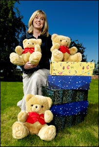 Julie Stokes with Winston Bear mascots