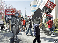 Writers manning a picket line outside a Hollywood Studio