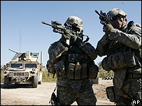 US troops from 3rd Brigade, 101st Airborne Division on patrol in Youssifiyah, south of Baghdad