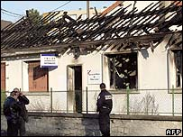 Burned police station in Villiers-le-Bel