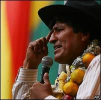 President Evo Morales addresses a rally in La Paz on 26 November