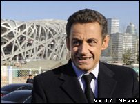 President Sarkozy at the Olympic stadium in Beijing