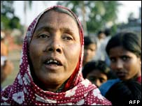 Displaced Nandigram villager Amina Bibi fled attacks allegedly by Marxist activists, 12 November