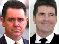 Anthony Calvert (left) and Simon Cowell (right)