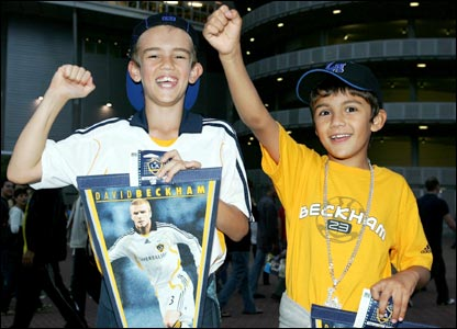 Two youngsters turn out to watch David Beckham play for LA Galaxy against Sydney FC