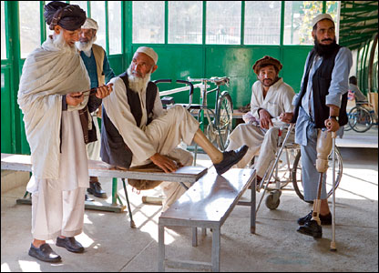 Afghans attend an orthopaedic centre in Kabul