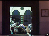 Kenyan Muslims pray at a mosque in Mombasa