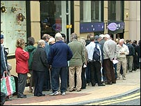 Northern Rock customers queuing during September's run on the bank