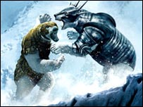 Armoured bears fighting