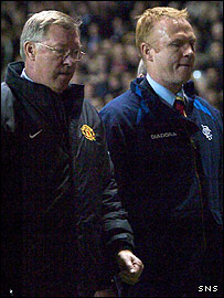Sir Alex Ferguson (left) and Alex McLeish at Old Trafford