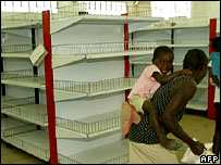 Empty supermarket shelves in Zimbabwe