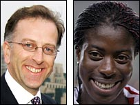 Ed Warner and Christine Ohuruogu