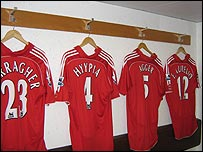 The home changing room at Anfield
