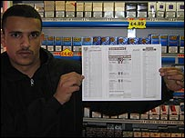 An employee of Merseyside News holds a copy of the pools form