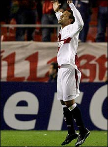 Luis Fabiano celebrates scoring Sevilla's second