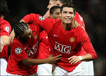 Ronaldo is congratulated by his team-mates