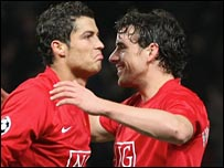 Cristiano Ronaldo is congratulated by Owen Hargreaves after his winner