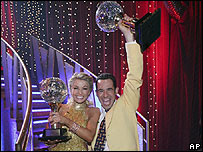 Helio Castroneves and his dance partner Julianne Hough