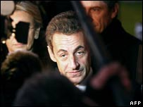 French President Nicolas Sarkozy visits officers injured in riots. 28 Nov