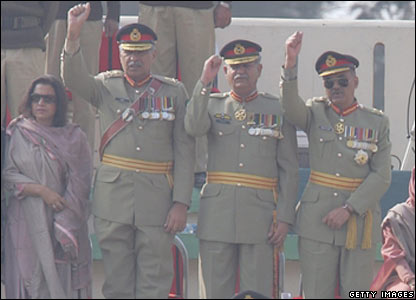 Army officers cheer Gen Musharraf