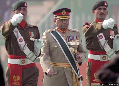 President Pervez Musharraf is escorted by a military honour guard in Rawalpindi