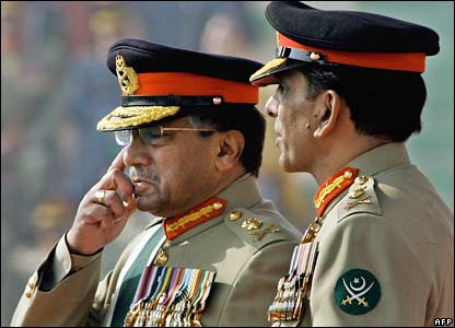 Gen Musharraf rubs his eye during the handover ceremony