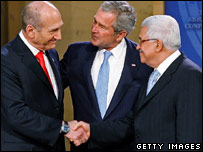 Prime Minister Olmert, President Bush and President Abbas