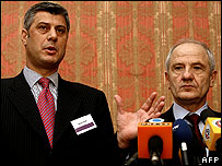 Kosovo Albanian leaders Hashim Thaci and Fatmir Sejdiu
