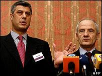 Kosovo Albanian leaders Hashim Thaci and Fatmir Sejdiu