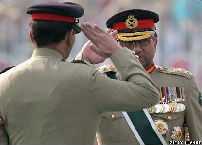 Gen Musharraf and Gen Kayani salute in Rawalpindi