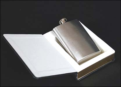 Hip flask holder in the shape of the 'Good Book'