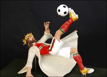 Figurine of Jesus as a footballer