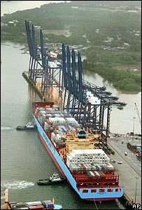 A post-Panamax vessel operated by shipping firm Maersk