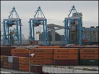 Containers and cranes at the port of Liverpool