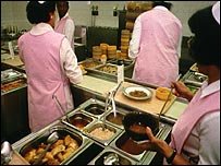 Staff preparing hospital food
