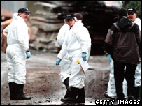 Forensic officers at the site of Pickton's farm (file image from 2002)
