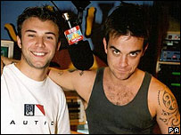 Jonathan Wilkes and Robbie Williams