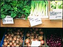 Organic food at a market
