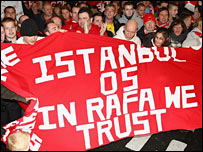 Liverpool fans show their support for Rafa Benitez