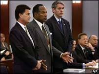 OJ Simpson flanked by lawyers