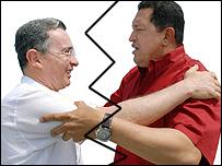 Álvaro Uribe y Hugo Chávez.